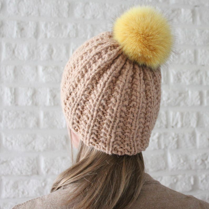 4a7981651 Fur pom pom hat, Alpaca hat, Chunky rib knit hat, Beige hat, Fur bobble  hat, Winter hat with pom pom, Tan hat, Yellow fur
