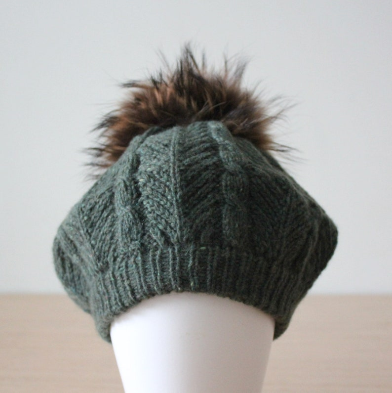 50b3a248553 Green cashmere blend beret with raccoon fur pom pom Fur ball
