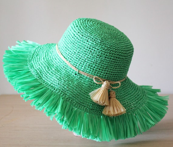 Beach hat Green Straw sun hat womens Frayed hat Floppy beach  7cebb126820