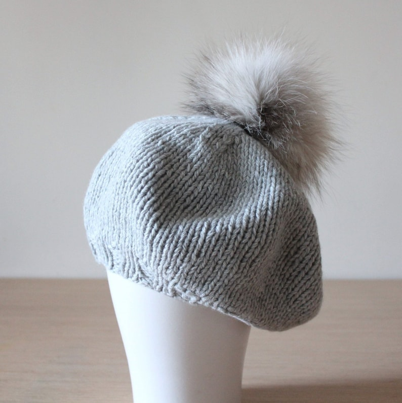 d22c96f9 Grey cashmere beanie beret with fox fur pom pom, Fur ball hat, Slouchy  winter beret