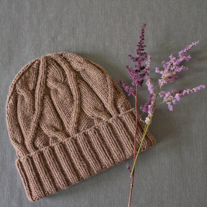 982b37dc60f Cashmere blend Cable knit beanie hat Light brown Unisex hat