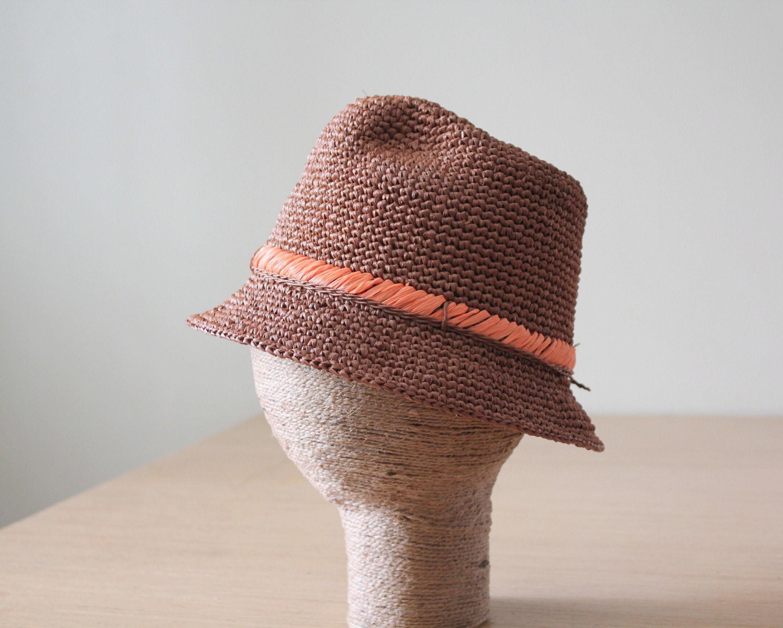 47a891562884fe Ladies raffia fedora packable sun hat Brown sun hat Brown   Etsy