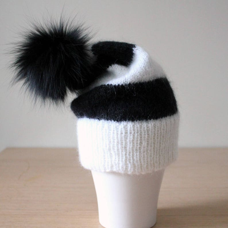 069dca34dcc Black and white striped mohair hat Fur pom pom hat Double