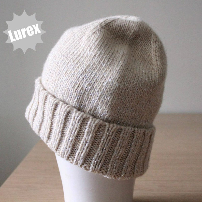 0e4a69e2a61 Cream merino wool sparkly lurex beanie hat Womens fashion