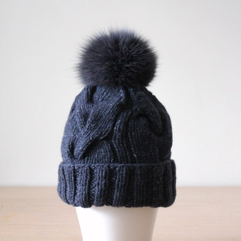 f0348fba2e2 Fox fur pompom cashmere and wool cable knit hat Dark Gray
