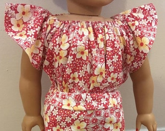 Fun Flowery American Girl Doll Shirt/Skirt Outfit