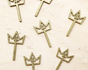 12 Custom Wood Crown Cupcake Toppers for Birthday Party.