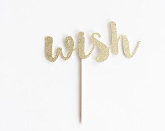 Glitter 'wish' Cake Topper for Birthday.
