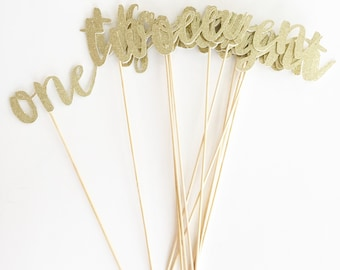 Brush Script Gold or Silver Glitter Table Numbers for Wedding or Special Event.