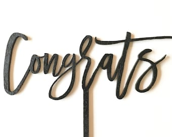 Wood 'Congrats' Cake Topper for Birthday Party and Special Event.