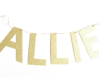 Glitter Custom Name Banner for Birthday, Anniversary, Special Event, and Home.