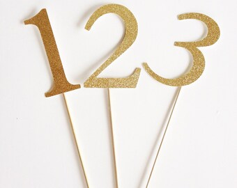 """4"""" Gold or Silver Table Numbers for Wedding or Special Event."""