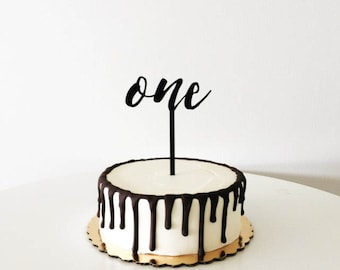 Custom Wood Script Number Cake Topper for Anniversary and Birthday Celebrations.