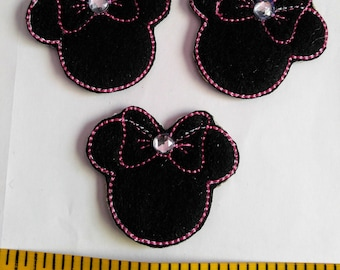 Minnie Mouse felties set of 3 ~ felt Embellishment ~ Pink or red color