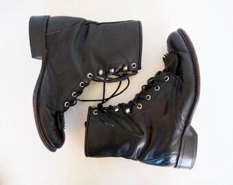 vintage black lace up boots