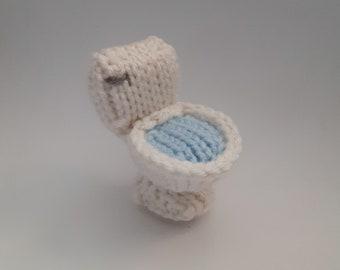 Mini Toilet Knitted Soft Ornament - Unique Ornament - Silly Gift Idea - Furniture Ornament - Desk Decor - Bathroom Ornament - Gag Gift Idea