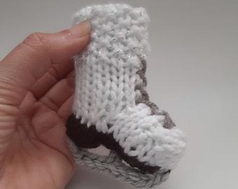 Miniature Ice Skate Knitted Soft Ornament - Sports Ornament - Unique Stocking Stuffer - Mini Skate - Mobile Supply - Christmas Ornament