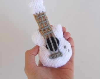 Mini Guitar Knitted Soft Toy Acoustic Style - Boys Stuffed Toys - Kids Room Decor - Stocking Stuffer Toy - Mobile Supply - Hanging Ornament