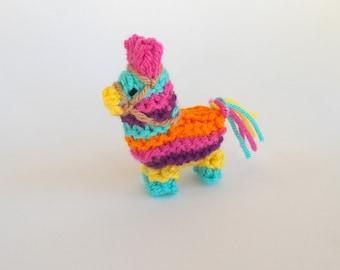 Miniature Donkey Pinata Knitted Soft Ornament - Pinata Ornament - Unique Stocking Stuffer - Mini Donkey - Fiesta Decor - Christmas Ornament