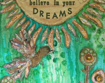 Believe in Your Dream - 16 X 20 Mixed Media on Canvas