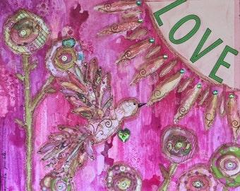 Love - 18 X 18 Mixed Media Art on Canvas