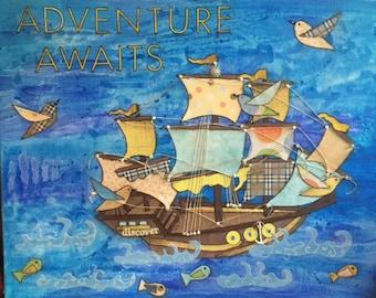 Adventure Awaits - 16 X 20 Mixed Media Art on Canvas