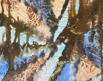 """12 X 12 inch Abstract Art on Gessobord, """"Dream . . ."""""""
