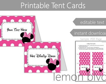 Minnie Mouse Tent Cards