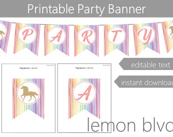 Unicorn Party Banner   Unicorn Instant Digital Download   Editable Text   Unicorn Party Bunting Banner   Pastel Rainbow Unicorn Party