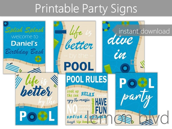 photo about Pool Party Printable named Pool Social gathering Printables Deal Pool Immediate Electronic Down load Editable Words and phrases Blue Pool Bash Decorations Boys Pool Get together Inexperienced Pool