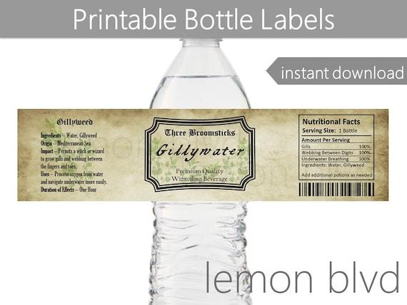 Gillywater Bottle Labels Harry Potter Instant Digital Etsy