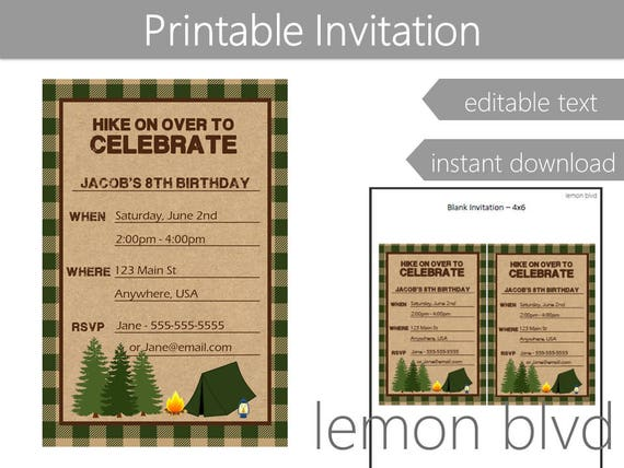 camping invitation instant digital download camp party etsy
