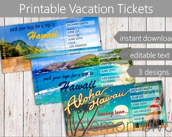 Surprise Hawaii Trip Ticket | Vacation Tickets Instant Download | Boarding Pass | Printable Trip Ticket Surprise | Hawaii Ticket Download