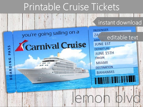Carnival Cruise Tickets Cruise Ticket Download Editable Etsy