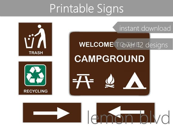 image regarding Printable Camping Signs known as Campground Signs or symptoms Tenting Get together Printables Immediate Electronic Obtain  Tenting Social gathering Pack Tenting Social gathering Decorations Tenting Signs or symptoms