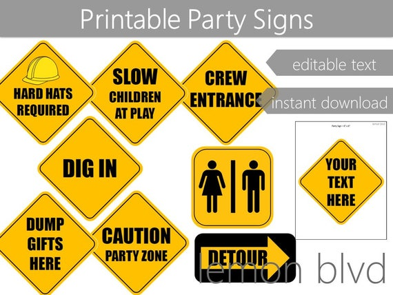 construction party signs construction instant digital etsy