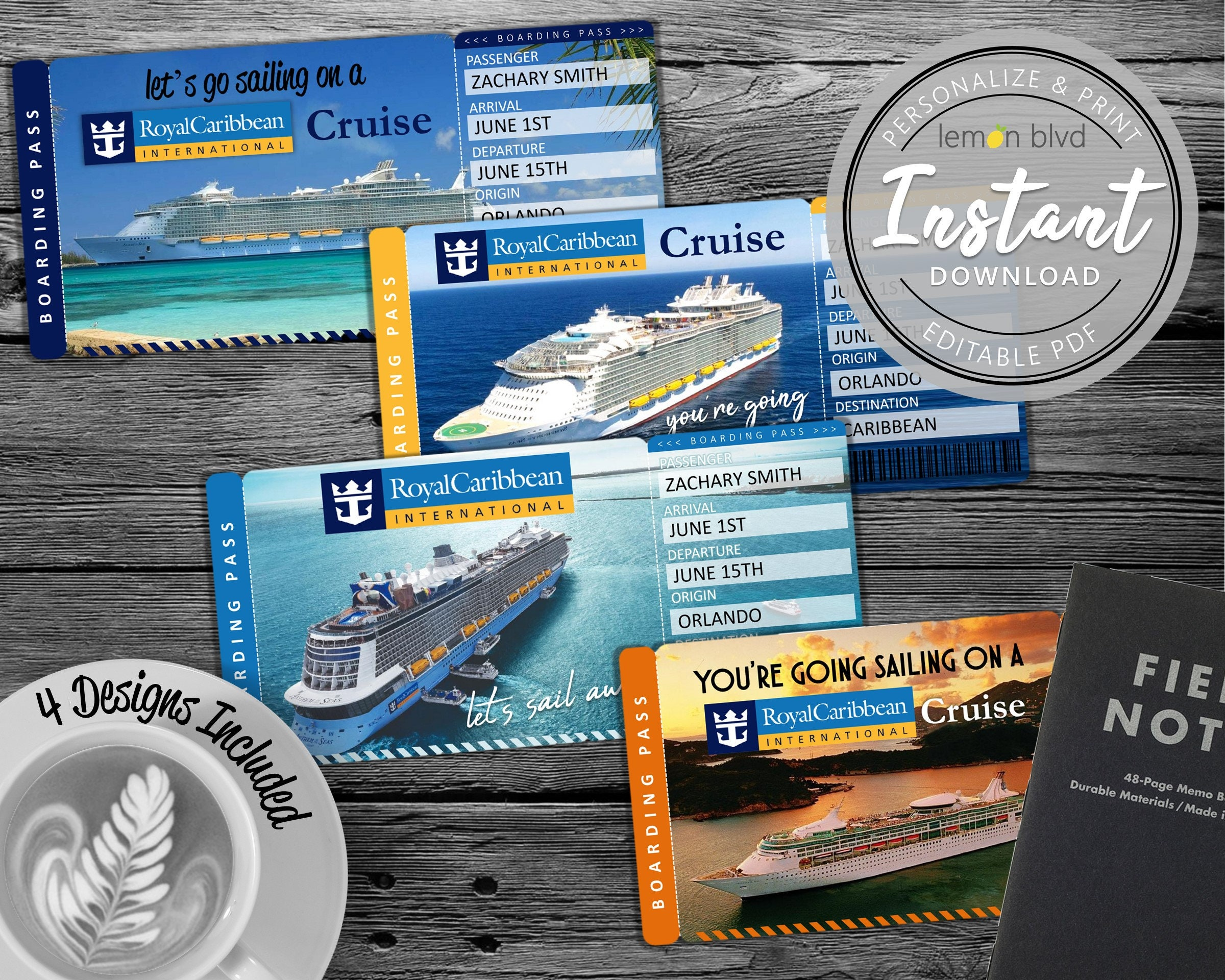 Royal Caribbean Cruise Tickets Cruise Ticket Download Etsy
