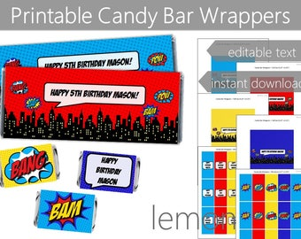 Superhero Party Candy Bar Wrappers   Instant Digital Download   Editable Text   Superhero Boy Comic Party Favors