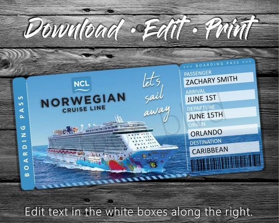 Ncl Cruise Tickets Norwegian Cruise Ticket Download Etsy