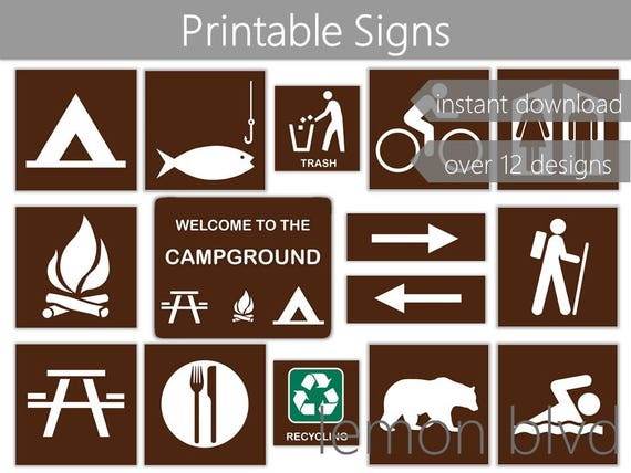 photo relating to Free Printable Camping Signs called Campground Signs and symptoms Tenting Social gathering Printables Prompt Electronic Down load  Tenting Bash Pack Tenting Celebration Decorations Tenting Signs and symptoms