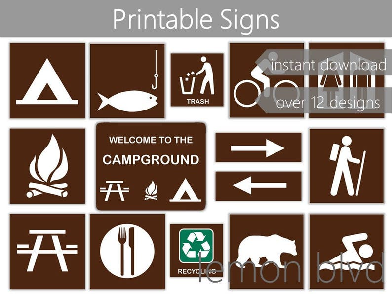 photo about Recycle Signs Printable known as Campground Symptoms Tenting Occasion Printables Instantaneous Electronic Down load  Tenting Celebration Pack Tenting Celebration Decorations Tenting Symptoms