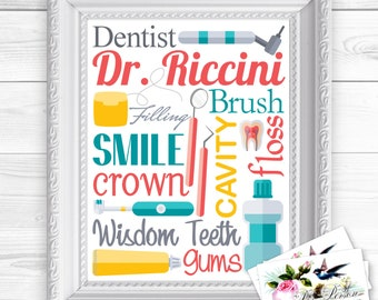 """24 hr Turnaround: You Download & Print Personalized / Custom Gift Dentist, Orthodontist, Endodontist, Periodontist Wall Art Sign  8x10"""" Name"""