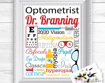 """24 hr Turnaround: You Download & Print Personalized / Custom Gift Optometrist, Ophthalmologist, Optician, Eye Doctor, Wall Art Sign  8x10"""""""