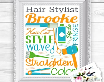 """24 hr Turnaround: You Download & Print Personalized Custom Gift Hair Dresser Stylist Cosmetologist Subway Style Wall Art Sign 8x10"""" Any Name"""