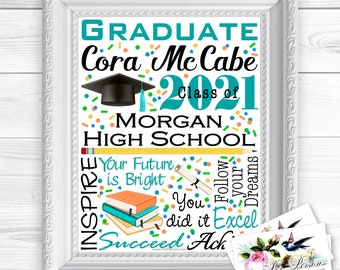 """24 hr Turnaround: You Download & Print Personalized /Custom Gift Graduation Graduate High School Colors College Wall Art Sign 8x10"""" Any Name"""