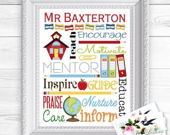 24 hr Turnaround: You Download & Print Personalized Custom Gift Teacher Appreciation, Principal, Administrator Art Sign 8x10 Brights Pastels