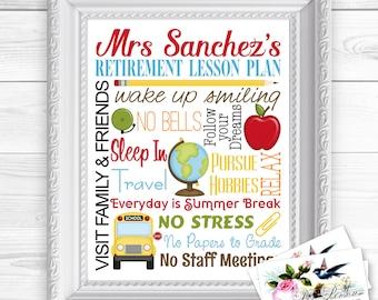 "24 hr Turnaround: You Download & Print Personalized / Custom Gift Retirement Teacher, Principal, Administrator, Aide, Tutor, Art Sign 8x10"""