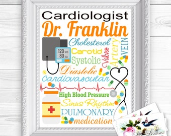 """24 hr Turnaround: You Download & Print Personalized / Custom Gift Cardiologist, Cardiology, Heart Doctor Wall Art Sign  8x10"""" Any Name"""