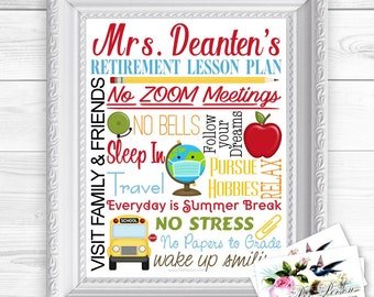 24 hr Turnaround: You Download & Print Personalized Custom Gift Retirement NO ZOOM Face Mask COVID Teacher Principal Administrator Aide 8x10
