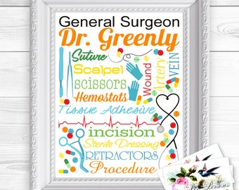 """24 hr Turnaround: You Download & Print Personalized / Custom Gift General Surgeon, General Surgery, Doctor Wall Art Sign 8x10"""" Name"""